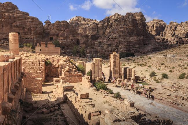 Camel train approaches Temenos Gateway with Qasr al-Bint temple, City of Petra ruins, Petra, Jordan