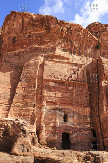 Silk Tomb, Royal Tombs, Petra, Jordan, Middle East