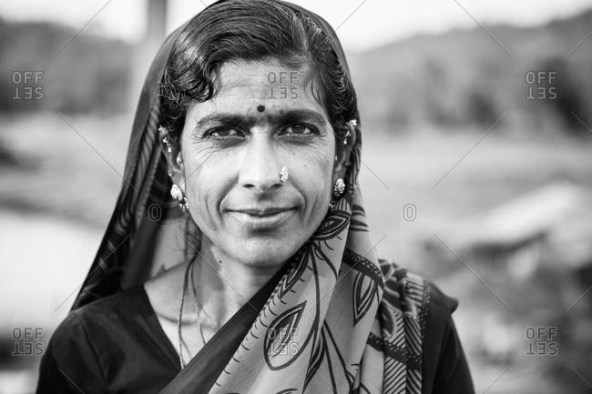 Karnataka, India - January 6, 2015: Portrait of an Indian woman with a head scarf
