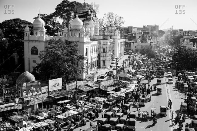 Hyderabad, India - January 13, 2015: Busy street in the city center of Hyderabad, India