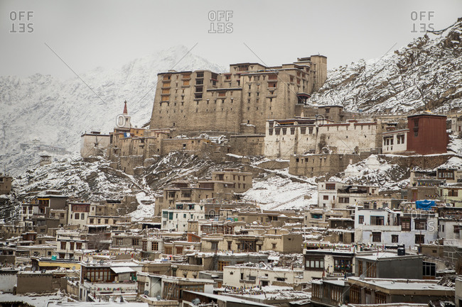 Snow covered buildings in the Himalayan region of Leh Ladakh, India