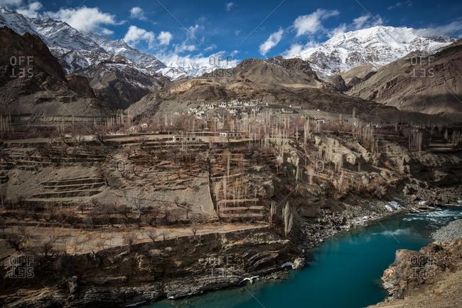 Arid landscape in the Himalayan region of Leh Ladakh, India