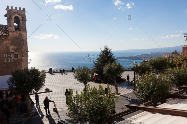 Piazza IX Aprile with view to Mediterranean Sea, Taormina, Messina, Sicily, Italy