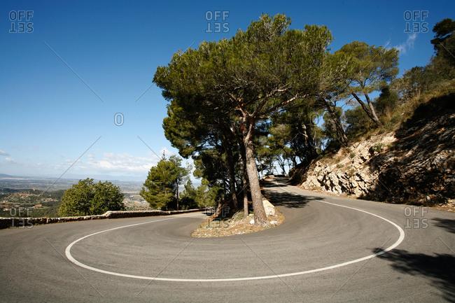 Serpentine road to Castell de Santueri, near Felanitx, Mallorca, Balearic Islands, Spain, Europe