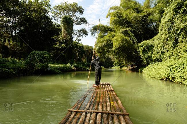 Bamboo raft excursion on the Rio Grande river, near Port Antonio, Portland, Jamaica, Caribbean