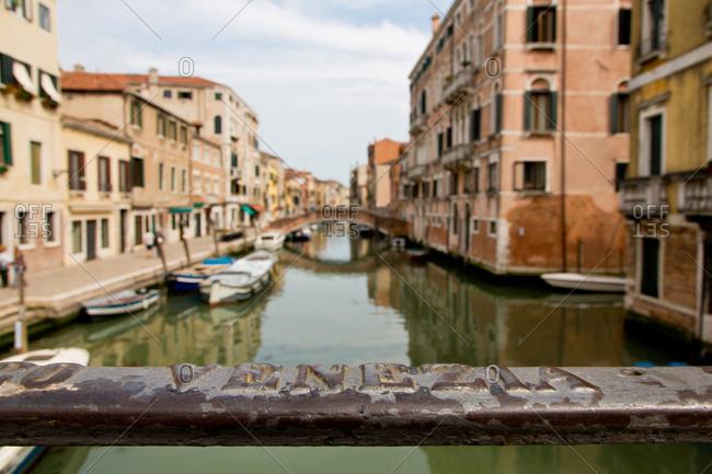 Bridge with Venezia lettering in Cannaregio, Venice, Veneto, Italy, Europe