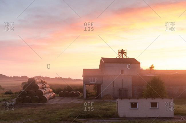 Farm in sunrise on the Schorfheide-Chorin Biosphere Reserve