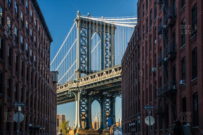 Manhattan Bridge and Empire State Building, Dumbo, Brooklyn, New York, USA