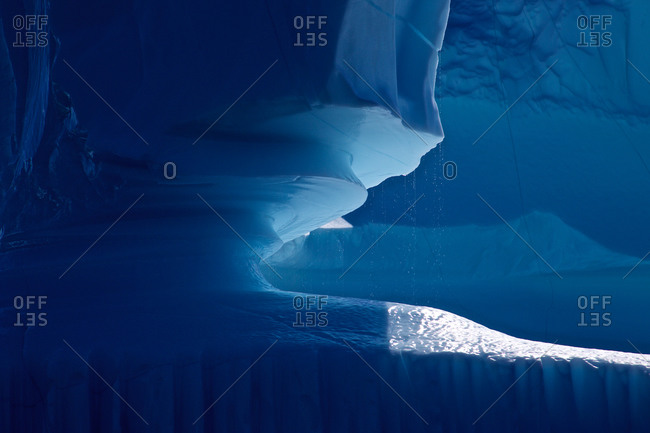 Detail, dripping iceberg, East Greenland, Greenland