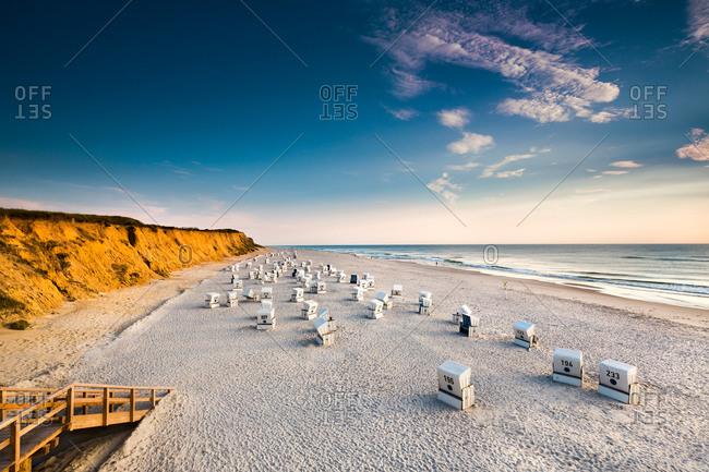 Beach baskets, red cliff, Kampen, Sylt Island, North Frisian Islands, Schleswig-Holstein, Germany