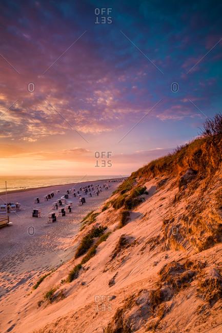 Empty beach as sunset, Westerland, Sylt Island, North Frisian Islands, Schleswig-Holstein, Germany
