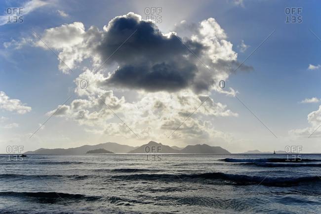 Dark clouds over Praslin Island, the Seychelles, Indian Ocean
