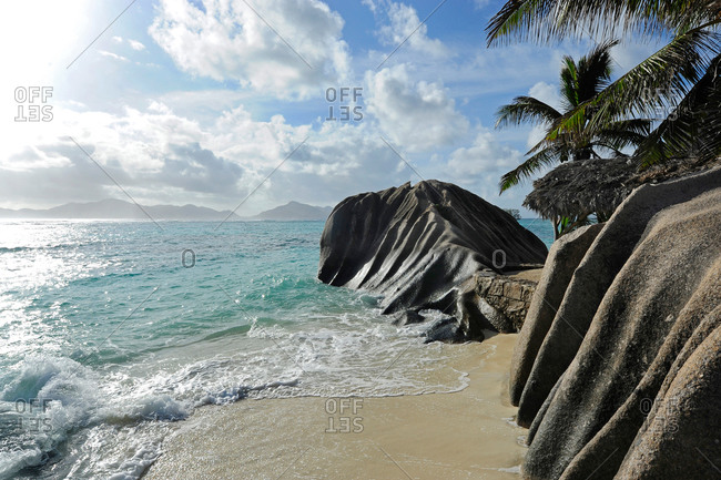 Washed out granite rocks at beach Anse Source d'Argent in the Seychelles