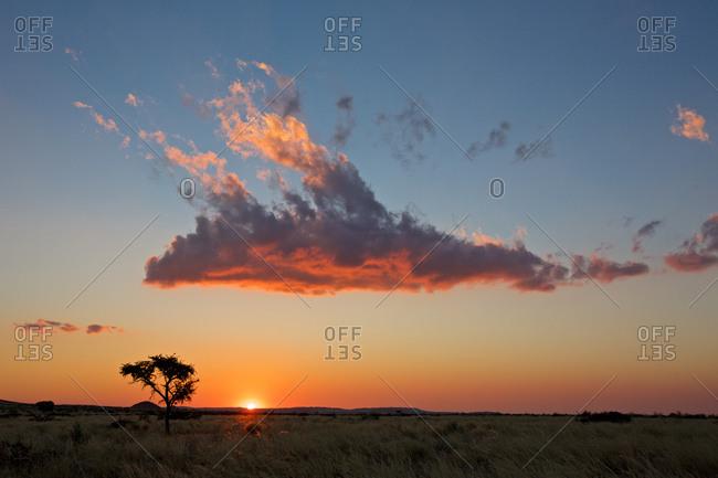 cloud illuminated by the sunset, Namibia