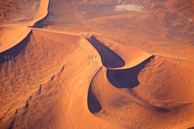 Aerial shot of a Star dune in the Namib desert, Namibia