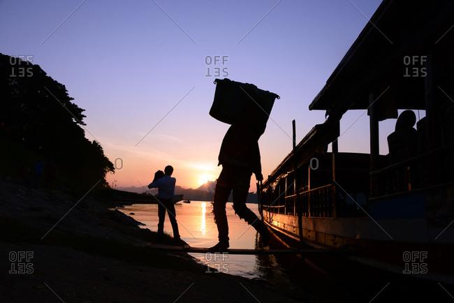 Ferryboat at the river Mekong, Luang Prabang, Laos, Asia