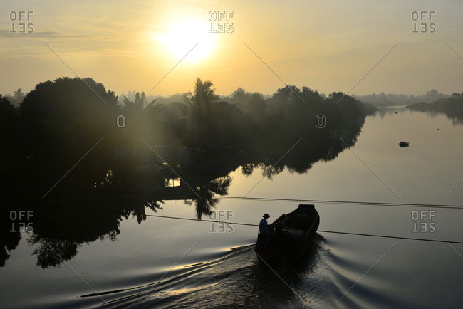 Sunset in An Binh in the delta of Mekong river, Vietnam, Asia