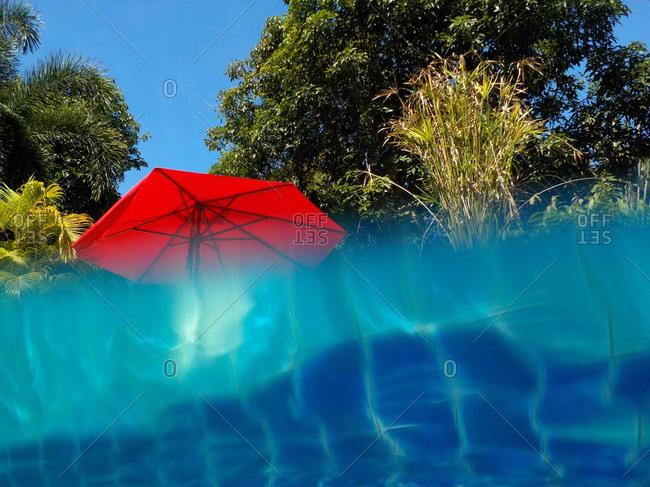 Pool and sunshade, Island of Mak, Golf of Thailand, Thailand