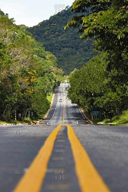 Coastal road leading through a coastal forest in Picinguaba, Costa Verde, Sao Paulo, Brazil