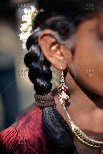 Traditional braid during the Sri Vinayagar temple festival