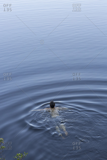 Man swimming alone in a lake