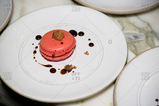 Red macaron on a plate