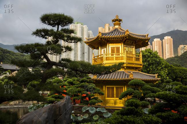 Golden Temple at Nan Lain Garden in Hong Kong, China