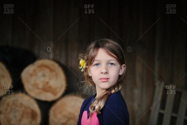 Portrait of a little girl in a barn