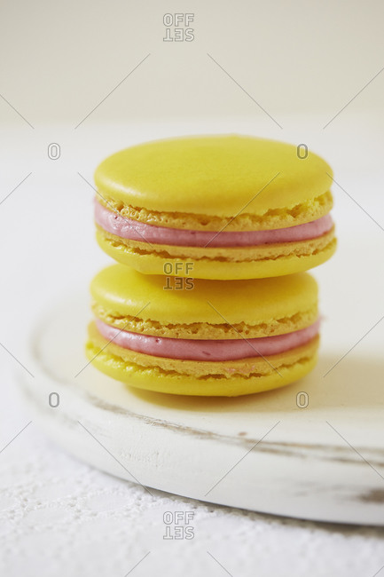 Close up of a stack of macaroons on a plate