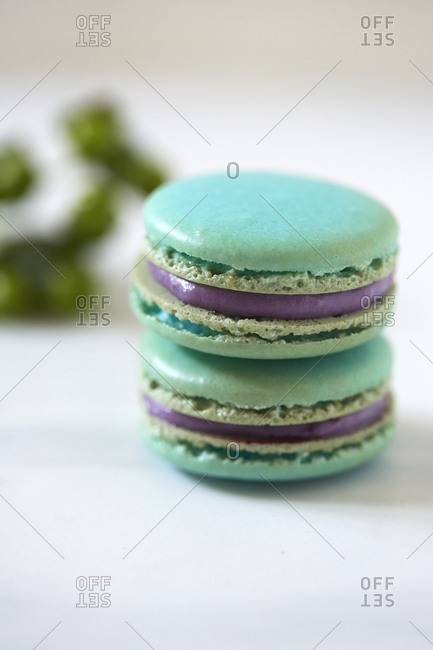 Close up of a stack of macaroons