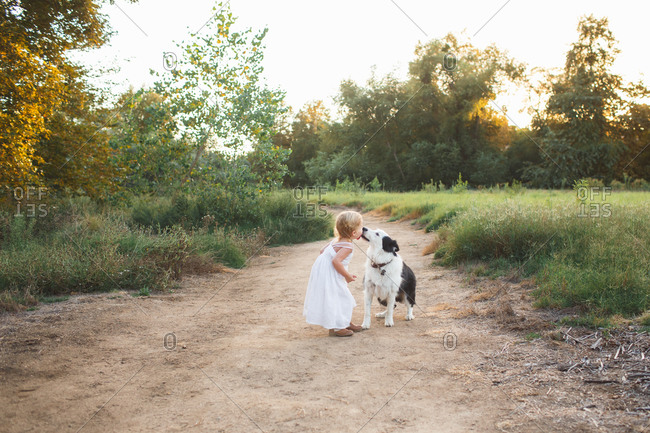 Dog licking little girl's face on a country path