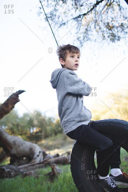Boy swinging on a tire swing