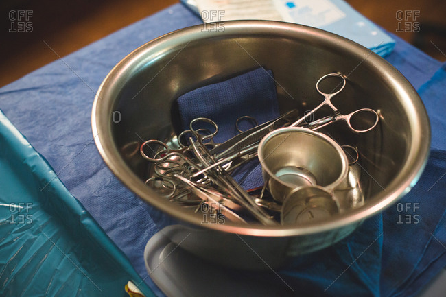 Medical instruments in a bowl