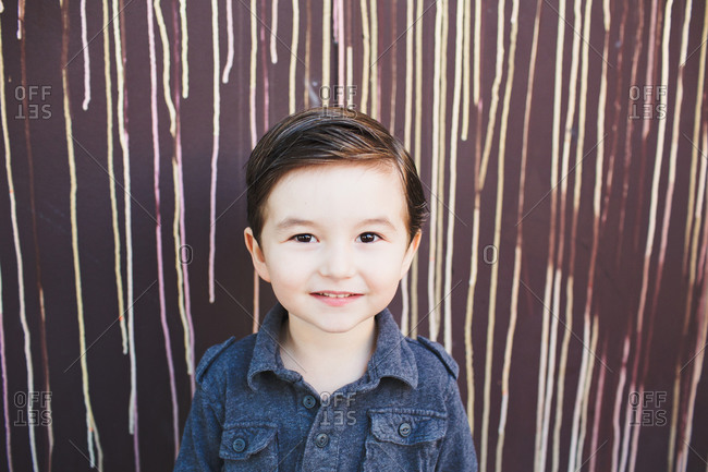 Portrait of a little boy with brown hair