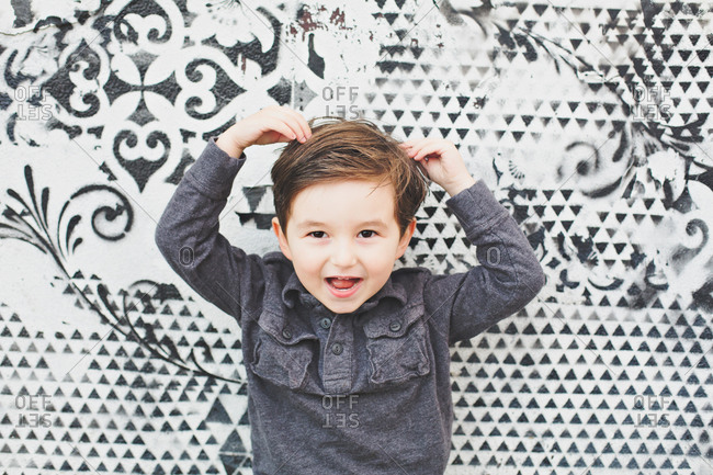 Portrait of a little boy with crazy brown hair