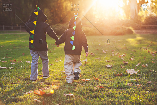 Two little boys wearing dinosaur hoodies walking hand in hand