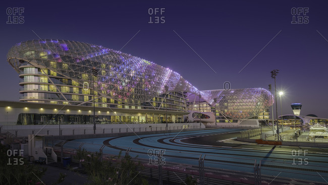 Abu Dhabi, United Arab Emirates - January 4, 2016: Luxury resort hotel with F1 race track in Abu Dhabi, UAE