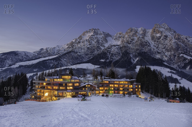 Blue hour at a ski resort in Tyrol, Austria