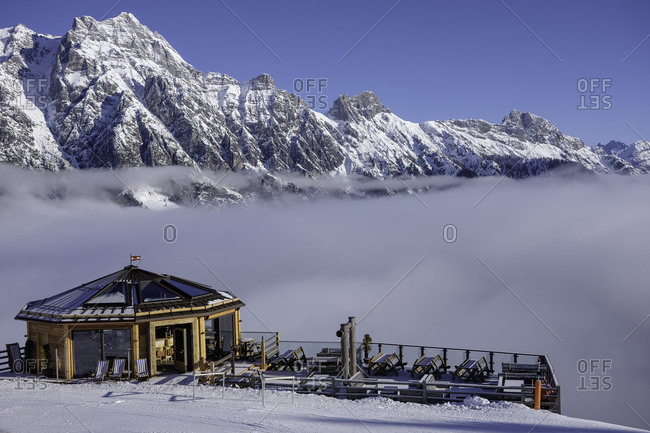 Bar in the Austrian Alps with a view