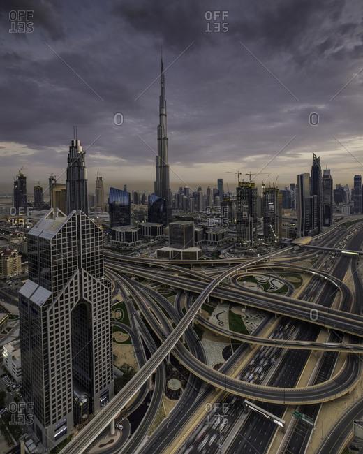 Dubai, United Arab Emirates - February 28, 2016: Freeways and buildings before dark in Dubai