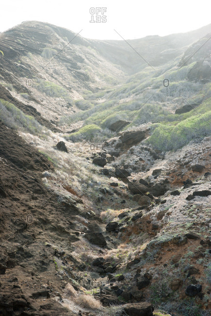 Rocky mountain ravine on a hazy day