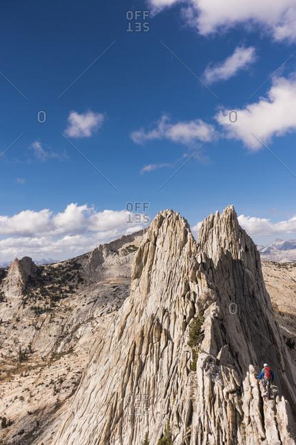 Climber traversing Mathes Crest in Yosemite High Country, Yosemite National Park