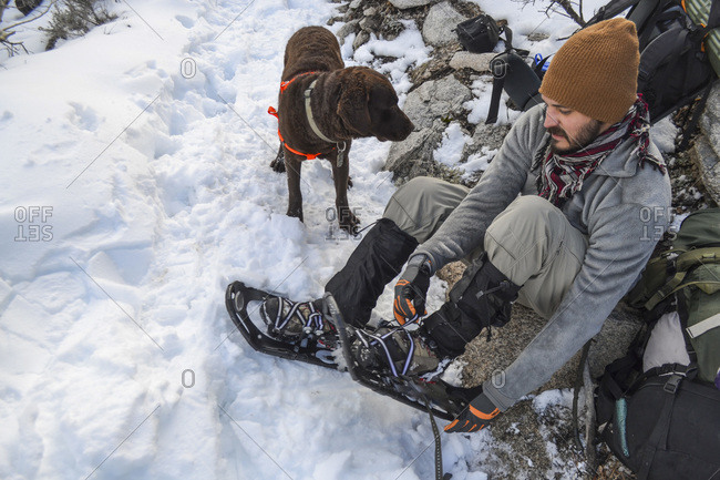 Preparing to snowshoe in John Muir Wilderness
