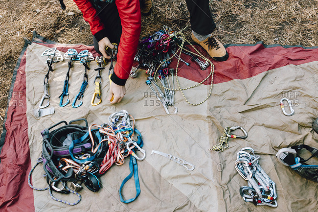 Gear organization at a campground in Yosemite