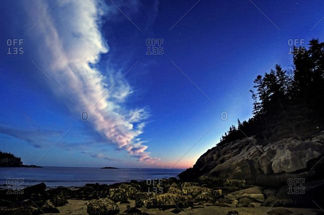 Some stars at dusk at Sand Beach in Acadia National Park, Maine