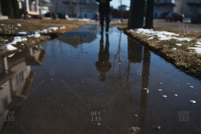 Wet sidewalk covered in melted snow