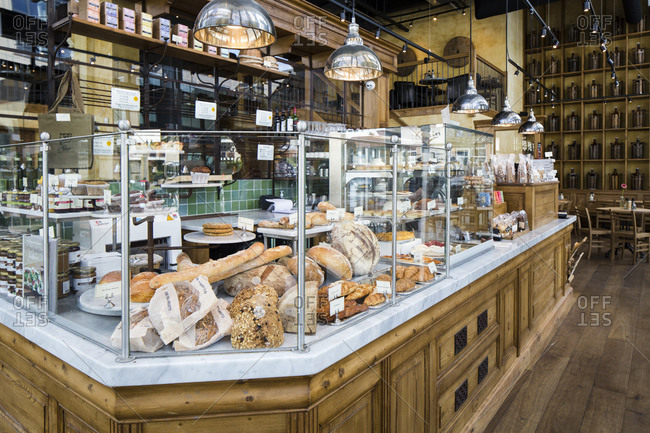 Amsterdam, The Netherlands - May 20, 2015: Fresh baked goods on display at a Danish bakery