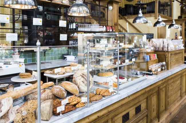 Amsterdam, The Netherlands - May 20, 2015: Baked goods on a display counter at a Danish bakery