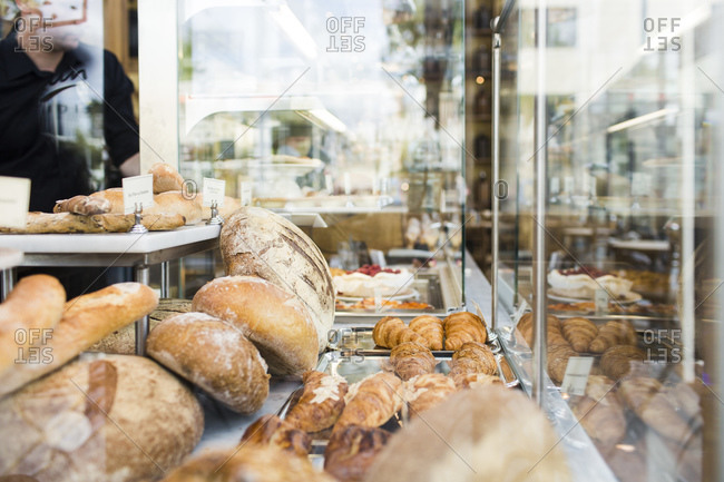 Amsterdam, The Netherlands - May 20, 2015: Selection of fresh pastries on display at a Danish bakery