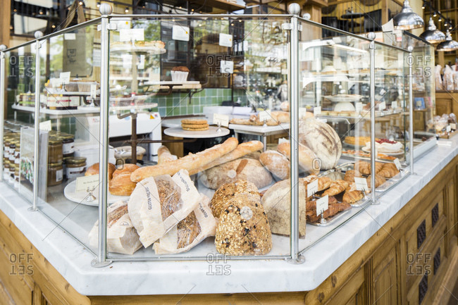 Amsterdam, The Netherlands - May 20, 2015: Loaves of fresh bread on display at a Danish bakery